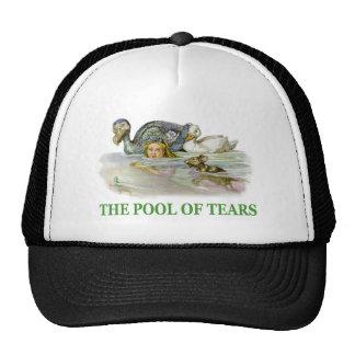 Alicia nada en la piscina de rasgones gorros