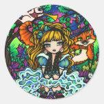 """""""Alicia perdió"""" a Alicia en el gato de Cheshire Pegatina Redonda"""