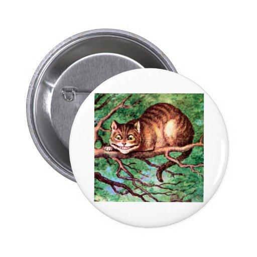 Alicia resuelve el gato de Cheshire en el país de  Pin Redondo De 2 Pulgadas