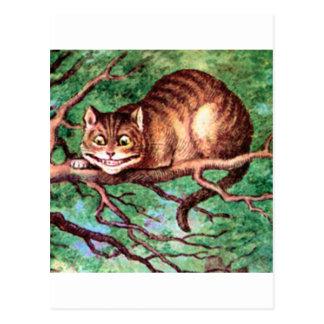 Alicia resuelve el gato de Cheshire en el país de Tarjetas Postales