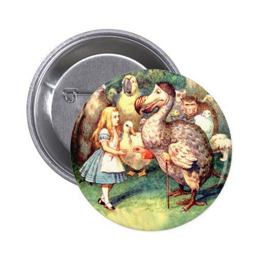 Alicia resuelve el pájaro del Dodo en la raza del  Pin Redondo 5 Cm