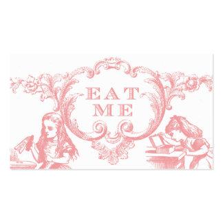 Alicia rosada en tarjetas de la comida del boda tarjetas de visita