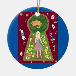 Alicia (serie de la moda del cuento de hadas #4) adorno navideño redondo de cerámica