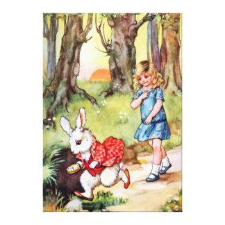 Alicia sigue el conejo blanco al país de las marav impresión de lienzo