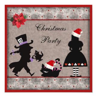 """Alicia, sombrerero enojado y fiesta de Navidad del Invitación 5.25"""" X 5.25"""""""