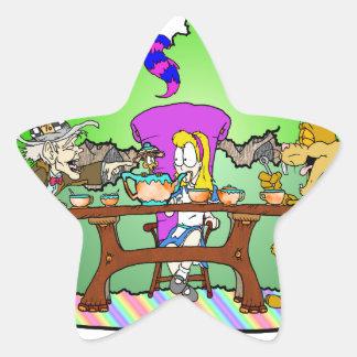 Alicia tiene una fiesta del té pegatina en forma de estrella