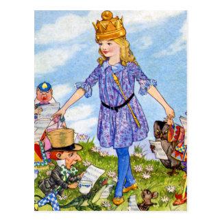 Alicia transforma en la reina Alicia en el país de Tarjeta Postal