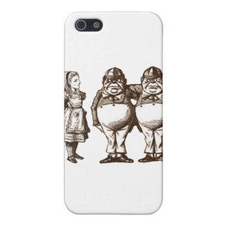 Alicia, Tweedle Dee y Tweedle Dum en sepia iPhone 5 Fundas