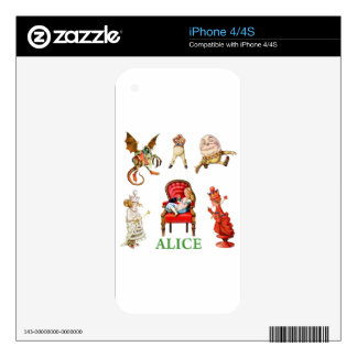 Alicia y amigos a través del espejo skins para eliPhone 4