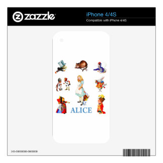 Alicia y amigos en el país de las maravillas iPhone 4 skins