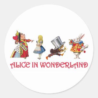 Alicia y amigos en el país de las maravillas etiqueta redonda