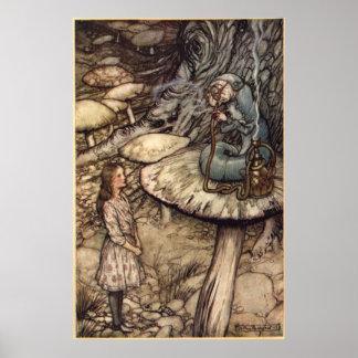 Alicia y Caterpillar de Arturo Rackham Póster