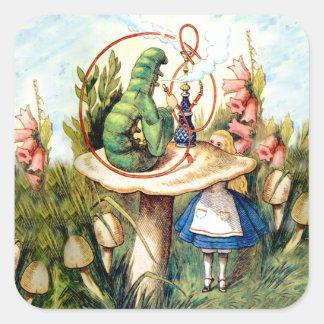 Alicia y Caterpillar en el país de las maravillas Pegatina Cuadrada