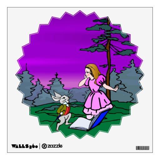 Alicia y conejo en bosque del país de las maravill