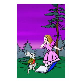Alicia y conejo en bosque del país de las  papeleria