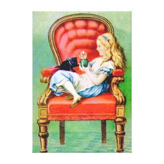 Alicia y Dinah en la silla roja grande Lona Envuelta Para Galerias