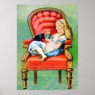 Alicia y Dinah en la silla roja grande Póster