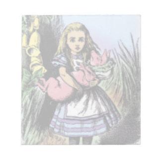 Alicia y el bebé del cerdo en libreta de los libretas para notas