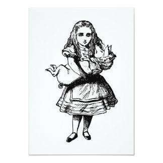 """Alicia y el bebé del cerdo entintaron negro invitación 5"""" x 7"""""""