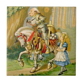 Alicia y el caballero blanco en el país de las mar azulejo cuadrado pequeño