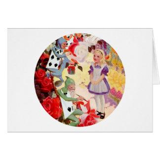 Alicia y el Cardmen que pinta los rosas de la rein Felicitaciones