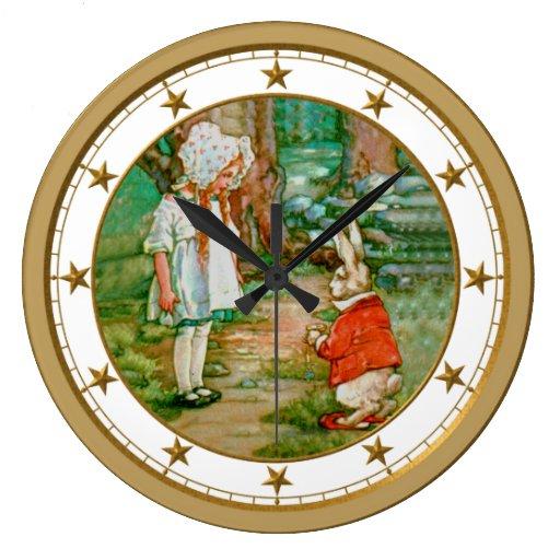 Alicia y el conejo blanco en el país de las maravi reloj redondo grande