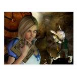 Alicia y el conejo blanco postal