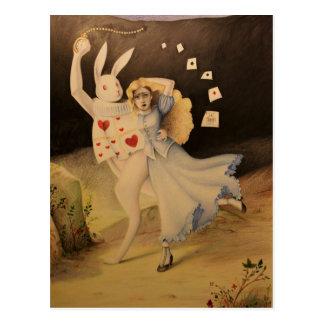 Alicia y el conejo con el reloj - bosquejo de la postal