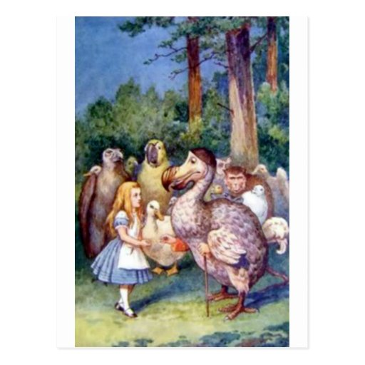 Alicia y el Dodo en a todo color Tarjetas Postales