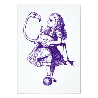 Alicia y el flamenco entintaron púrpura invitación 12,7 x 17,8 cm