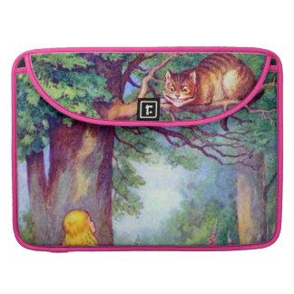 Alicia y el gato de Cheshire a todo color Fundas Para Macbooks