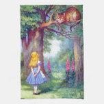 Alicia y el gato de Cheshire a todo color Toallas De Cocina