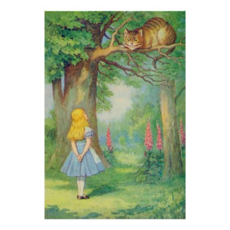 Alicia y el gato de Cheshire a todo color Póster