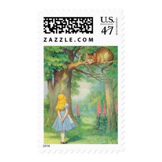 Alicia y el gato de Cheshire en a todo color Timbre Postal