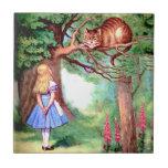 Alicia y el gato de Cheshire en el país de las mar Azulejo Ceramica