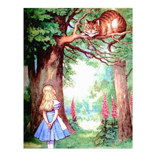 Alicia y el gato de Cheshire en el país de las mar Plantilla De Membrete