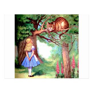 Alicia y el gato de Cheshire en el país de las Tarjetas Postales