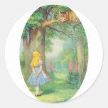 Alicia y el gato de Cheshire Etiquetas Redondas