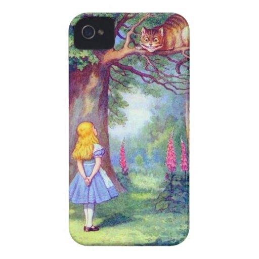Alicia y el gato de Cheshire iPhone 4 Funda