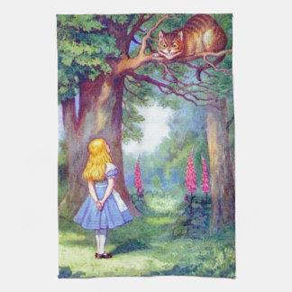Alicia y el gato de Cheshire Toallas De Cocina
