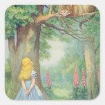 Alicia y el gato de Cheshire Pegatina Cuadrada