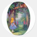 Alicia y el gato de Cheshire Pegatinas Redondas