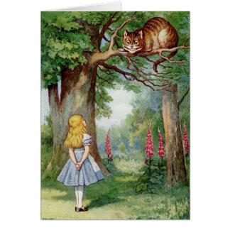 Alicia y el gato de Cheshire Tarjeta De Felicitación