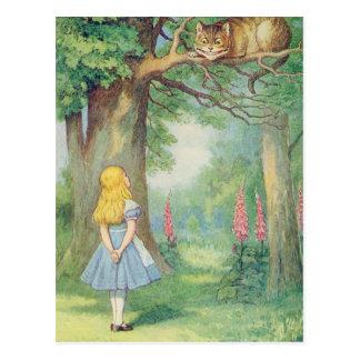 Alicia y el gato de Cheshire Tarjetas Postales