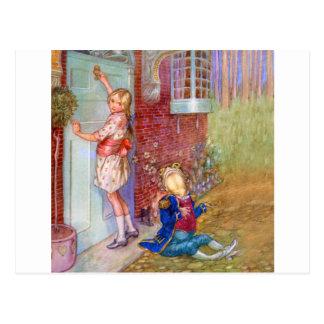 Alicia y el lacayo de la rana en Doorway de las Postal