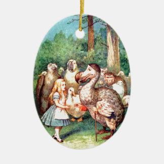 Alicia y el pájaro del Dodo en el país de las Adorno Navideño Ovalado De Cerámica