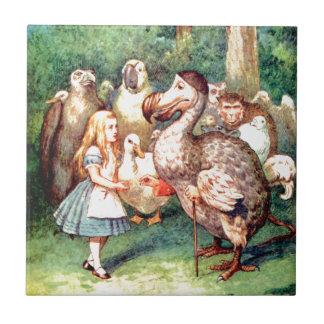 Alicia y el pájaro del Dodo en el país de las mara Azulejo Cuadrado Pequeño