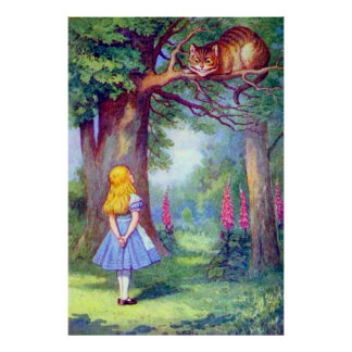 Alicia y el poster a todo color del gato de Cheshi