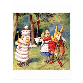 Alicia y el rey blanco en el país de las tarjeta postal
