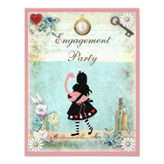 Alicia y fiesta de compromiso rosado del flamenco invitación 10,8 x 13,9 cm